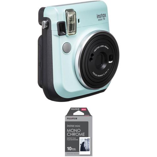 FUJIFILM INSTAX Mini 70 Instant Film Camera with Monochrome Film Kit (Icy Mint)