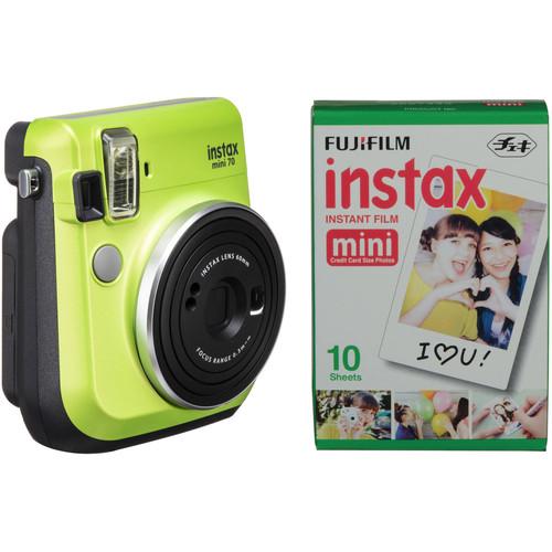 FUJIFILM INSTAX Mini 70 Instant Film Camera with Single Pack of Film Kit (Kiwi Green)