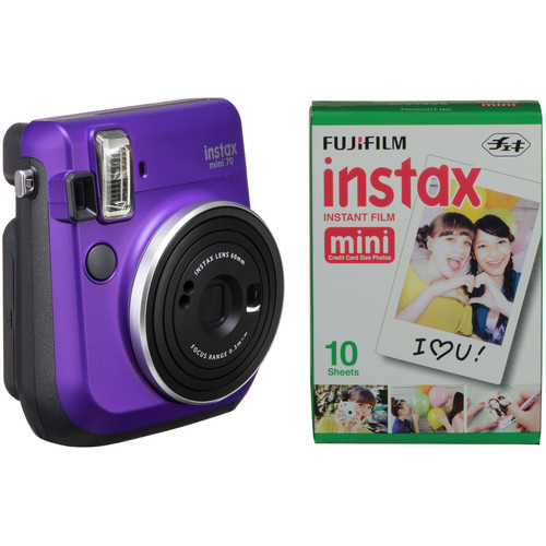 FUJIFILM INSTAX Mini 70 Instant Film Camera with Single Pack of Film Kit (Neon Violet)