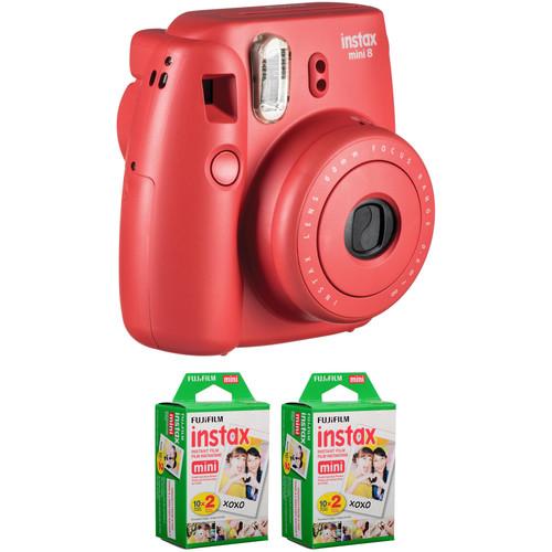 Fujifilm instax mini 8 Instant Film Camera with Two Twin Packs of Film Kit (Raspberry)