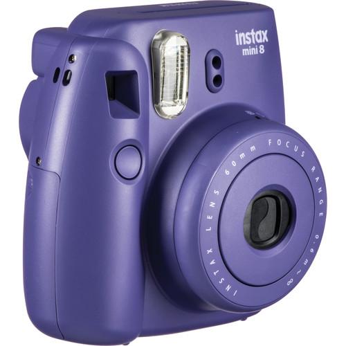 Fujifilm instax mini 8 Instant Film Camera & Rainbow Instant Film Kit (Grape)