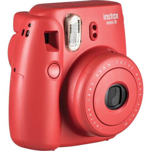Fujifilm instax mini 8 Instant Film Camera & Rainbow Instant Film Kit (Raspberry)