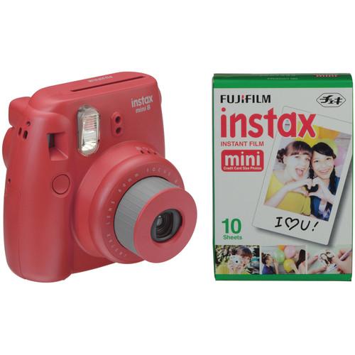 Fujifilm instax mini 8 Instant Film Camera with Single Pack of Film Kit (Raspberry)