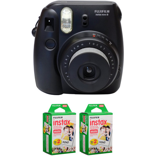 Fujifilm instax mini 8 Instant Film Camera with Two Twin Packs of Instant Color Film (Black)