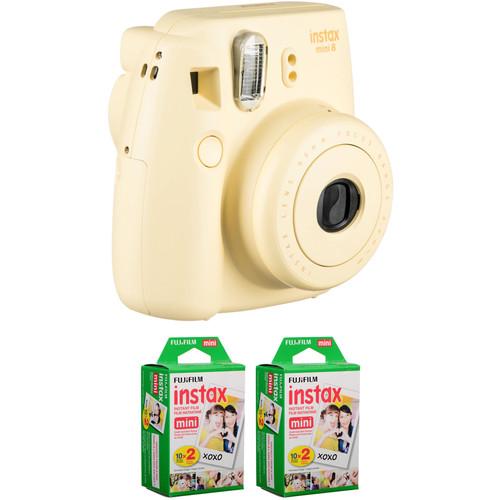 Fujifilm instax mini 8 Instant Film Camera with Two Twin Packs of Film Kit (Yellow)