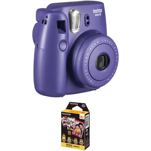 Fujifilm instax mini 8 Instant Film Camera with Single Pack of Film Kit (Grape)