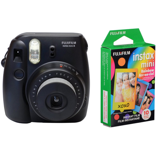 FUJIFILM instax mini 8 Instant Film Camera & Rainbow Instant Film Kit (Black)