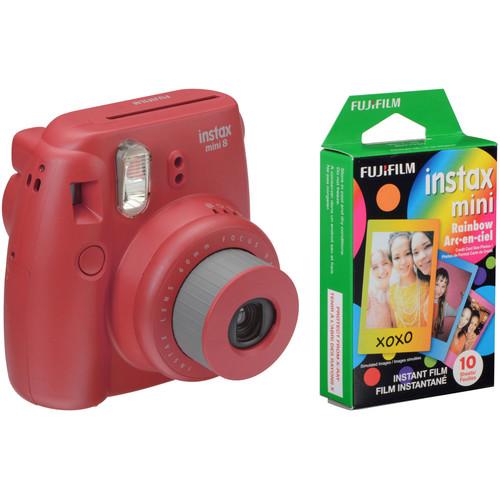 Fujifilm instax mini 8 Instant Film Camera with Rainbow Instant Film Kit (Raspberry)