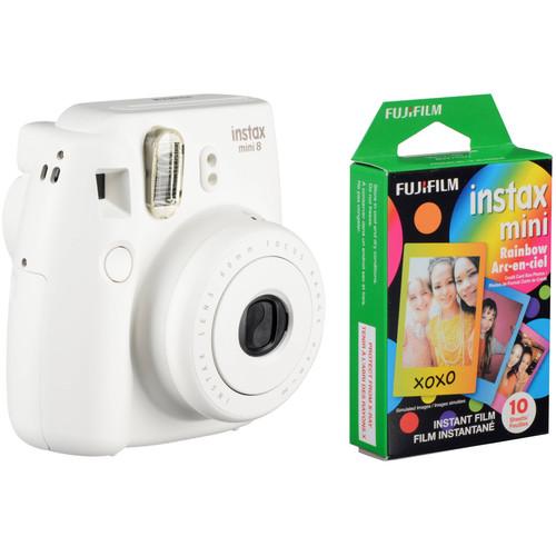 Fujifilm instax mini 8 Instant Film Camera & Rainbow Instant Film Kit (White)