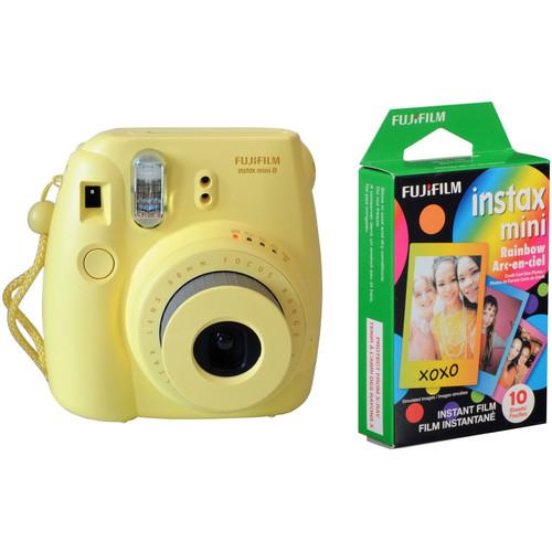 FUJIFILM INSTAX Mini 8 Instant Film Camera with Rainbow Instant Film Kit (Yellow)