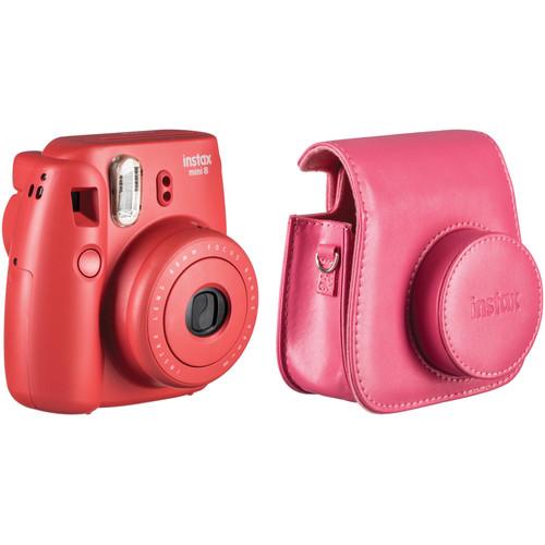 Fujifilm instax mini 8 Instant Film Camera and Groovy Case Kit (Raspberry)