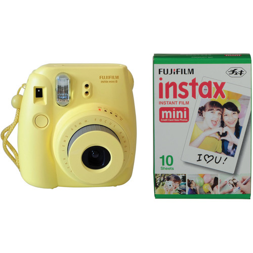 Fujifilm instax mini 8 Instant Film Camera with Single Pack of Film Kit (Yellow)