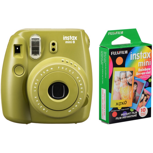 Fujifilm instax mini 8 Instant Film Camera with Rainbow Instant Film Kit (Avocado)