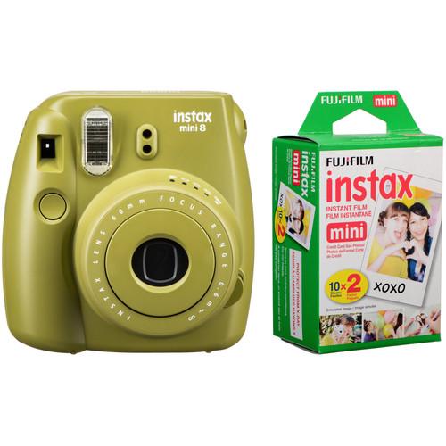 Fujifilm instax mini 8 Instant Film Camera with Twin Pack of Film Kit (Avocado)