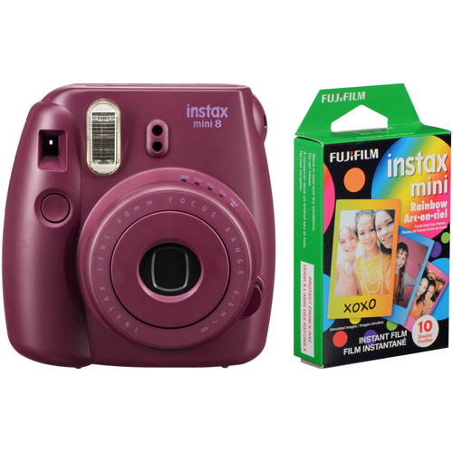 Fujifilm instax mini 8 Instant Film Camera with Rainbow Instant Film Kit (Plum)