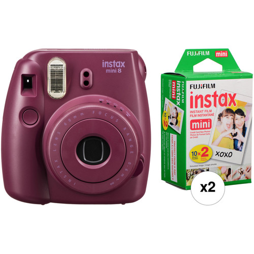 Fujifilm instax mini 8 Instant Film Camera with Two Twin Packs of Film Kit (Plum)
