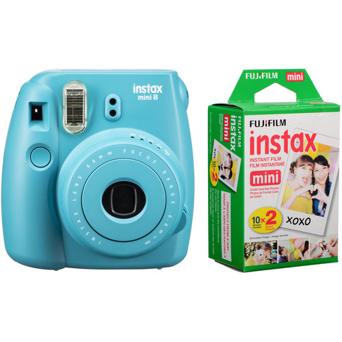 Fujifilm instax mini 8 Instant Film Camera with Twin Pack of Film Kit (Tile Blue)