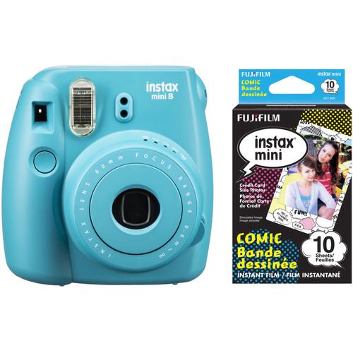 Fujifilm instax mini 8 Instant Film Camera with Single Pack of Film Kit (Tile Blue)