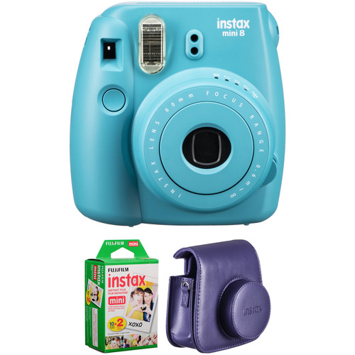 Fujifilm instax mini 8 Instant Film Camera with Twin Pack of Film and Case Kit (Tile Blue)