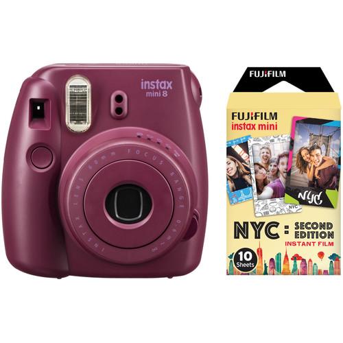 Instax Mini 8 Instant Film Camera With Single Pack Of Film Kit (Plum) by Fujifilm