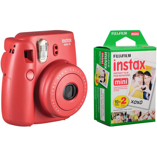 Fujifilm instax mini 8 Instant Film Camera with Twin Pack of Film Kit (Raspberry)