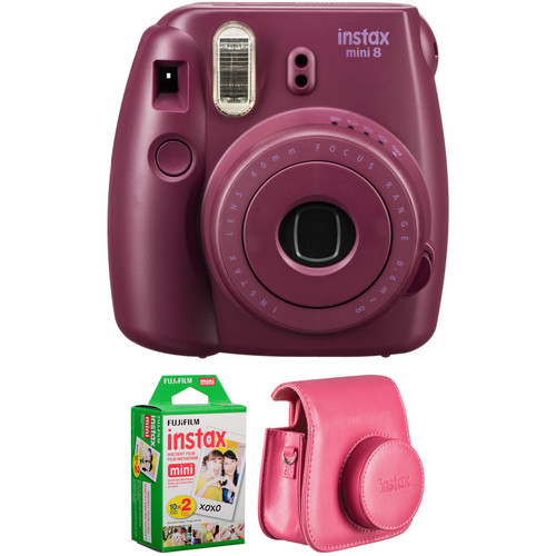 Fujifilm instax mini 8 Instant Film Camera with Twin Pack of Film and Case Kit (Plum)