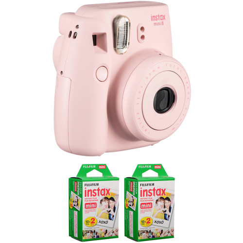 FUJIFILM instax mini 8 Instant Film Camera with Two Twin Packs of Instant Color Film (Pink)