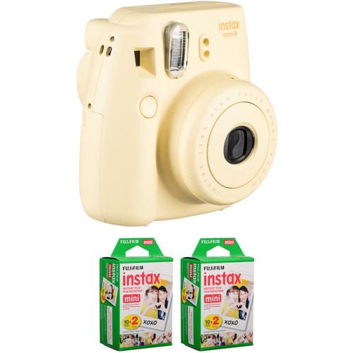 FUJIFILM instax mini 8 Instant Film Camera with Two Twin Packs of Film Kit (Yellow)