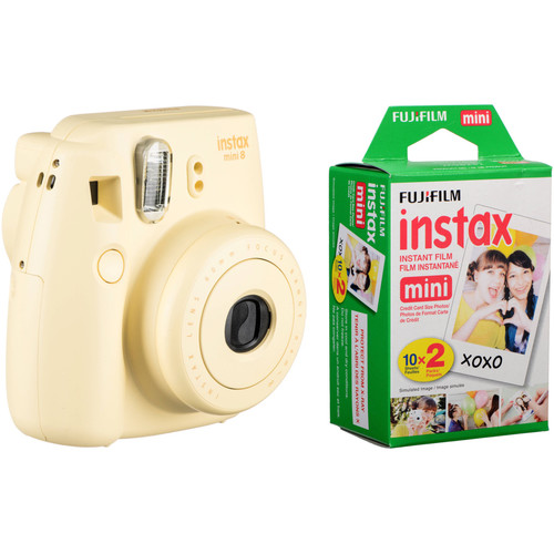 FUJIFILM instax mini 8 Instant Film Camera with Twin Pack of Film Kit (Yellow)
