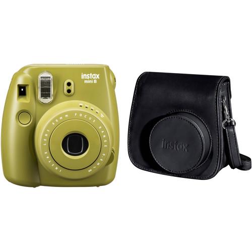 FUJIFILM INSTAX Mini 8 Instant Film Camera and Groovy Case Kit (Avocado)