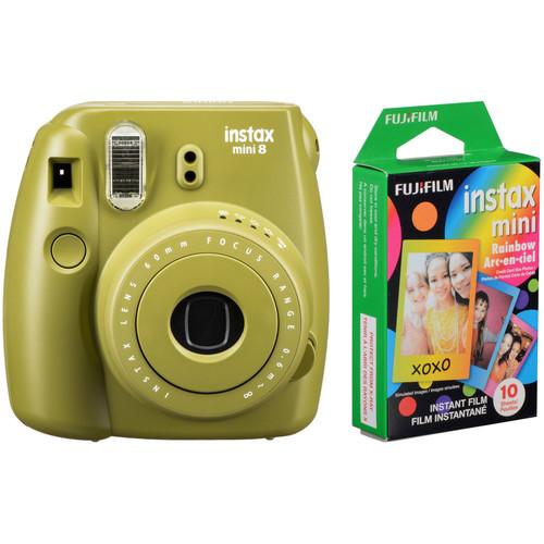 Fujifilm instax mini 8 Instant Film Camera with Rainbow Instant Film Kit (Avocado)