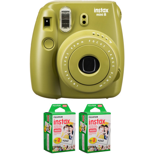 FUJIFILM INSTAX Mini 8 Instant Film Camera with Two Twin Packs of Film Kit (Avocado)