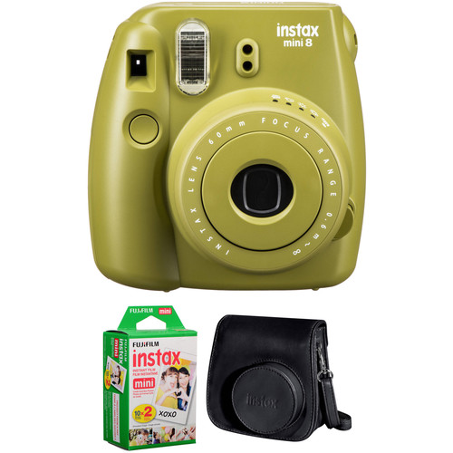 FUJIFILM INSTAX Mini 8 Instant Film Camera with Twin Pack of Film and Case Kit (Avocado)