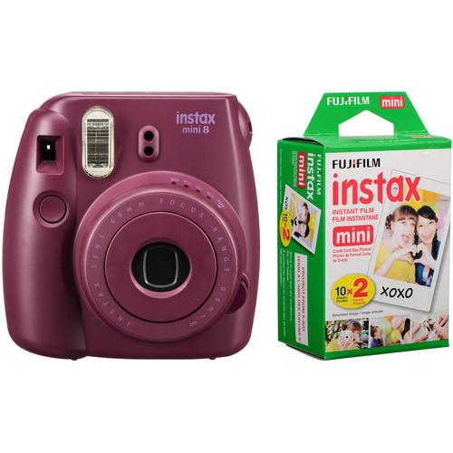 FUJIFILM INSTAX Mini 8 Instant Film Camera with Twin Pack of Film Kit (Plum)