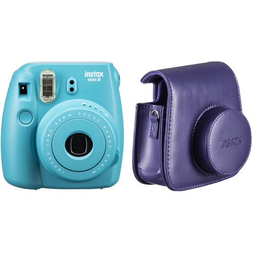 Fujifilm instax mini 8 Instant Film Camera and Groovy Case Kit (Tile Blue)