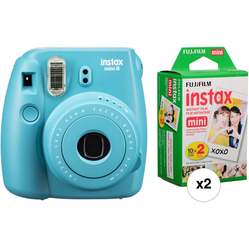 FUJIFILM INSTAX Mini 8 Instant Film Camera with Two Twin Packs of Film Kit (Tile Blue)