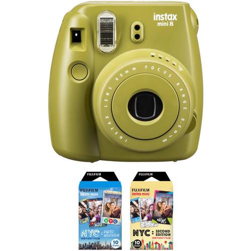 FUJIFILM INSTAX Mini 8 Instant Film Camera with NYC Edition Film Kit (Avocado)