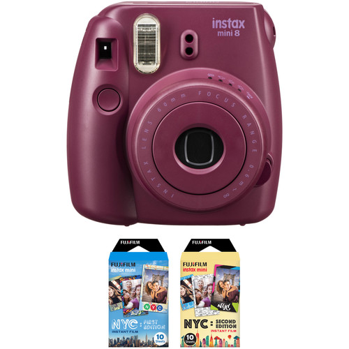 FUJIFILM INSTAX Mini 8 Instant Film Camera with NYC Edition Film Kit (Plum)