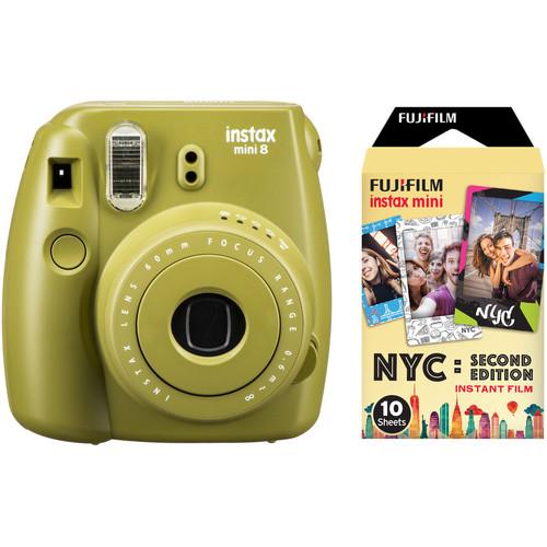 Fujifilm instax mini 8 Instant Film Camera with Single Pack of Film Kit (Avocado)