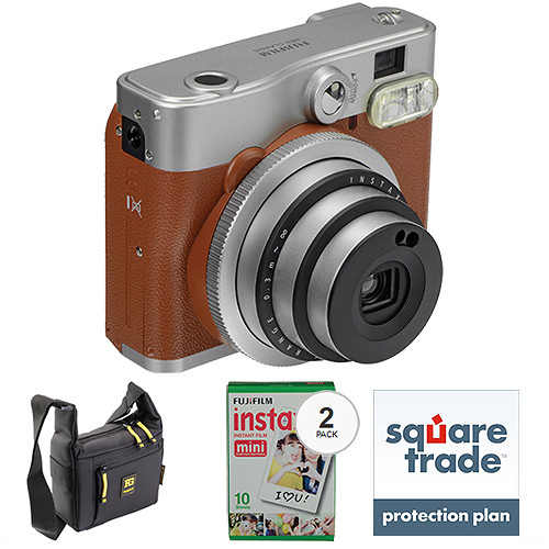 Fujifilm instax mini 90 Neo Classic Instant Film Camera Basic Kit (Brown)