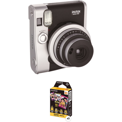 Fujifilm instax mini 90 Neo Classic Instant Film Camera with Three Packs of Film Kit (Black)
