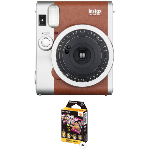 Fujifilm instax mini 90 Neo Classic Instant Film Camera with Three Packs of Film Kit (Brown)