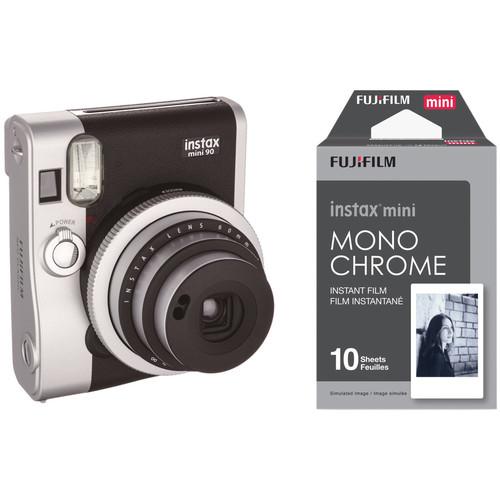 FUJIFILM INSTAX Mini 90 Neo Classic Instant Film Camera with Monochrome Film Kit (Black)
