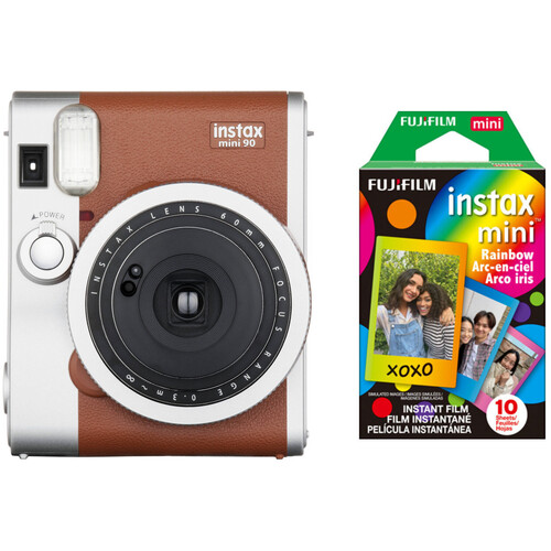 Fujifilm instax mini 90 Neo Classic Instant Film Camera with Single Pack of Film Kit (Brown)