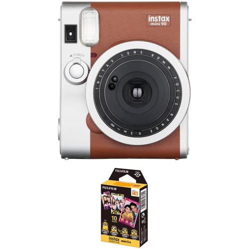 FUJIFILM INSTAX Mini 90 Neo Classic Instant Film Camera with Airmail Film Kit (Brown)