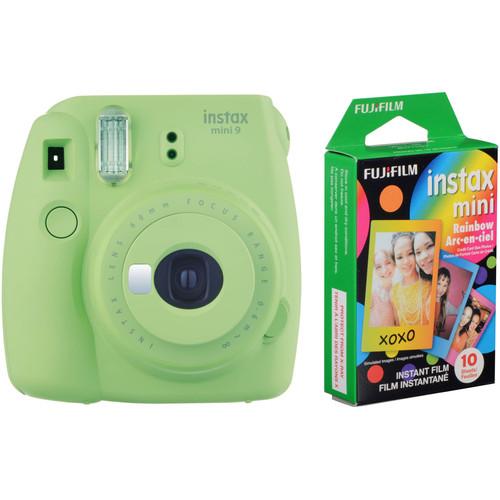 FUJIFILM INSTAX Mini 9 Instant Film Camera with Rainbow Instant Film Kit (Lime Green, 10 Exposures)