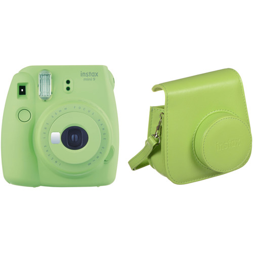 Fujifilm instax mini 9 Instant Film Camera with Case Kit (Lime Green)