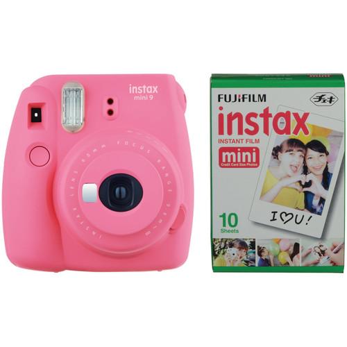 Fujifilm instax mini 9 Instant Film Camera with Instant Film Kit (Flamingo Pink, 10 Exposures)