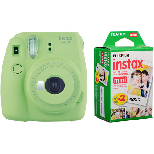 Fujifilm instax mini 9 Instant Film Camera with Instant Film Kit (Lime Green, 20 Exposures)