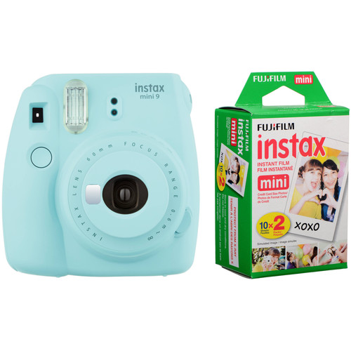 Fujifilm instax mini 9 Instant Film Camera with Instant Film Kit (Ice Blue, 20 Exposures)